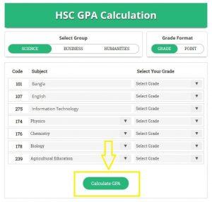 HSC GPA Calculator - Click on Calculate GPA Button