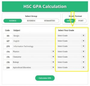 Select HSC Grade Point
