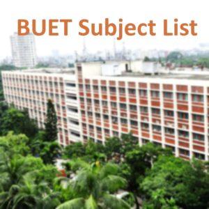 BUET Subject list